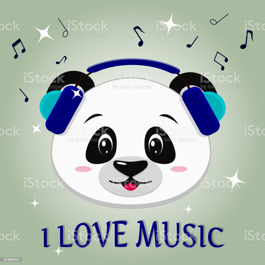 e1018fbb596bde Panda is a musician, head in blue headphones, in the style of cartoons -  Illustration .