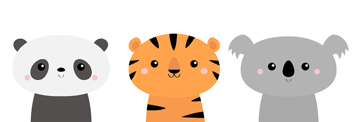 Panda, koala, tiger. Cute animal icon set. Kawaii cartoon character. Funny head face. Happy Valentines Day. Baby greeting card template. Notebook cover, tshirt. White background. Flat design.