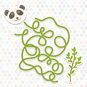panda  labyrinth game for Preschool Children. Vector