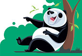 panda laughing and pointing