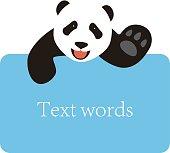 panda lie on the billboard, blackboard, say hello
