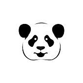 Panda logo black and white head vector