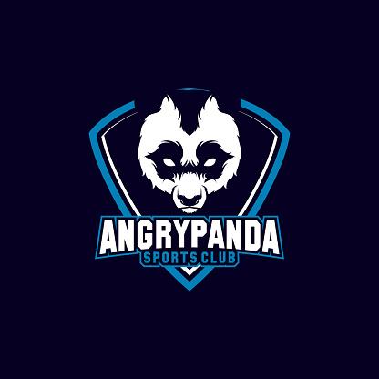 panda mascot icon shield with aggressive expression
