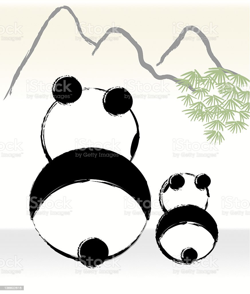 panda mom is parenting with her child vector art illustration
