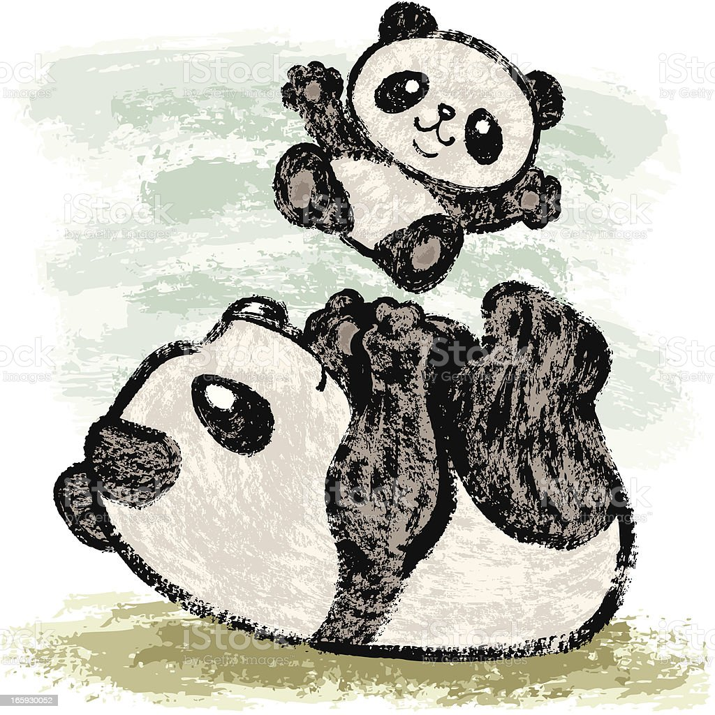 Panda mother and child vector art illustration
