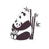 Panda mother hugging baby panda, love between mom and her child, caring and nursery concept. Black and white vector illustration with easily editable background color, eps8 format
