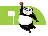 vector illustration of happy panda playing basketball