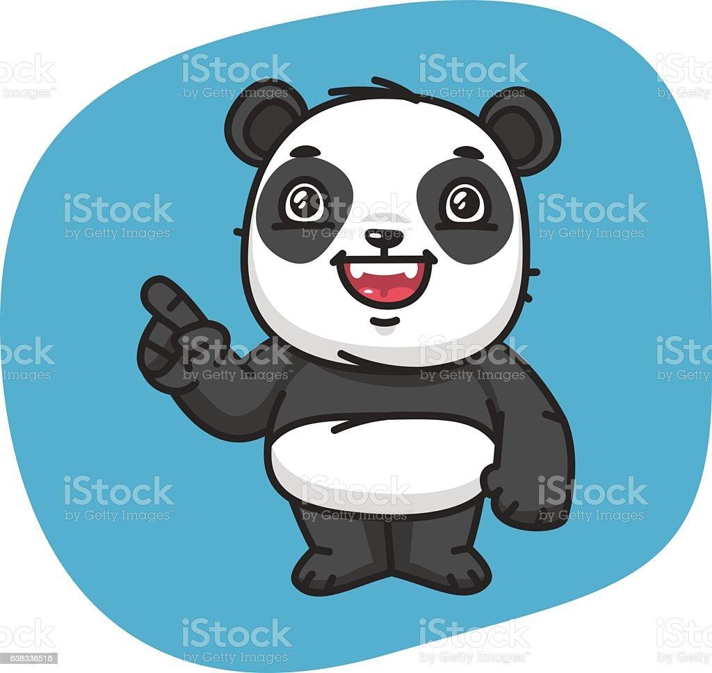 Panda Points Finger vector art illustration
