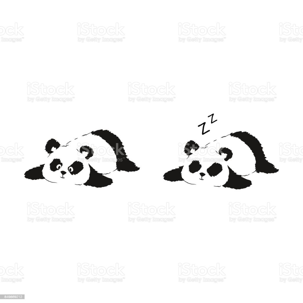 Panda resting on ground. Two vector illustrations of cute silhouette vector art illustration