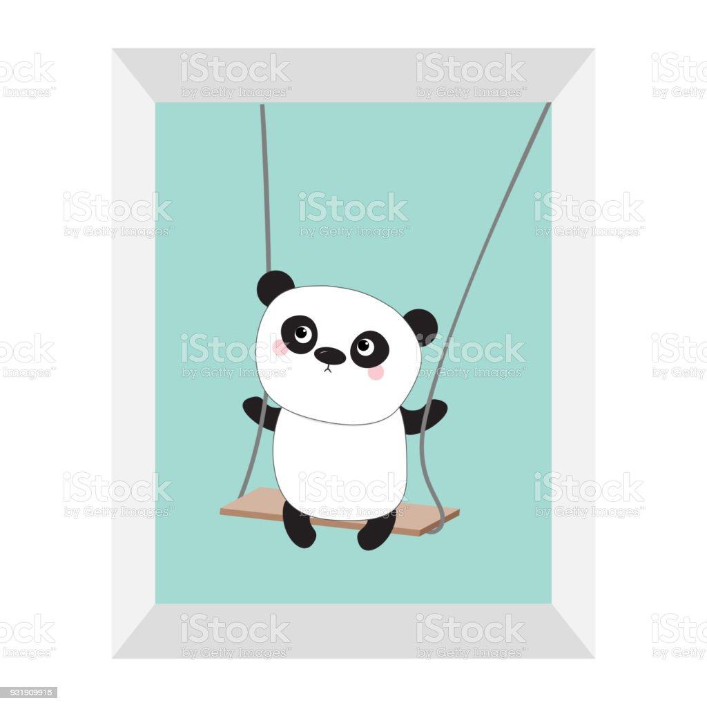 Ilustración de Panda Monta En El Columpio Personaje De Dibujos ...