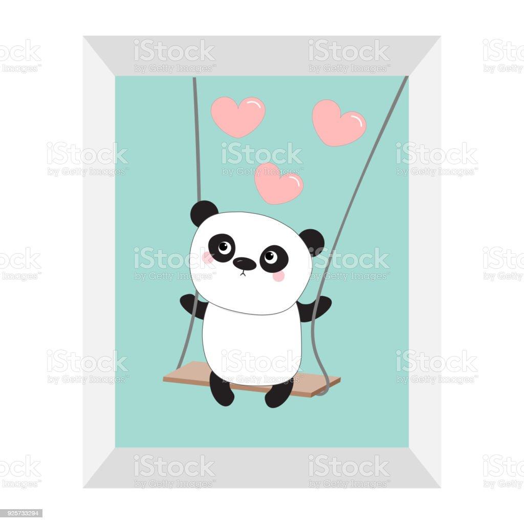 Panda Monta En El Columpio Rosa Corazones Voladores Personaje De ...