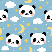 Panda seamless pattern background, happy cute panda in the sky with cloud moon and star