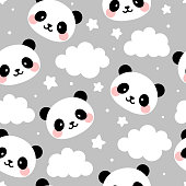 Cartoon panda vector illustration for kids nordic background with stars dot, Scandinavian style baby bedroom