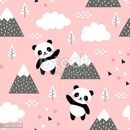 Panda fondo de patrón sin costuras
