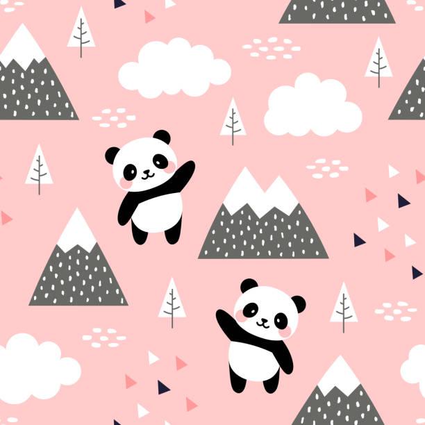 illustrations, cliparts, dessins animés et icônes de panda seamless pattern contexte - panda