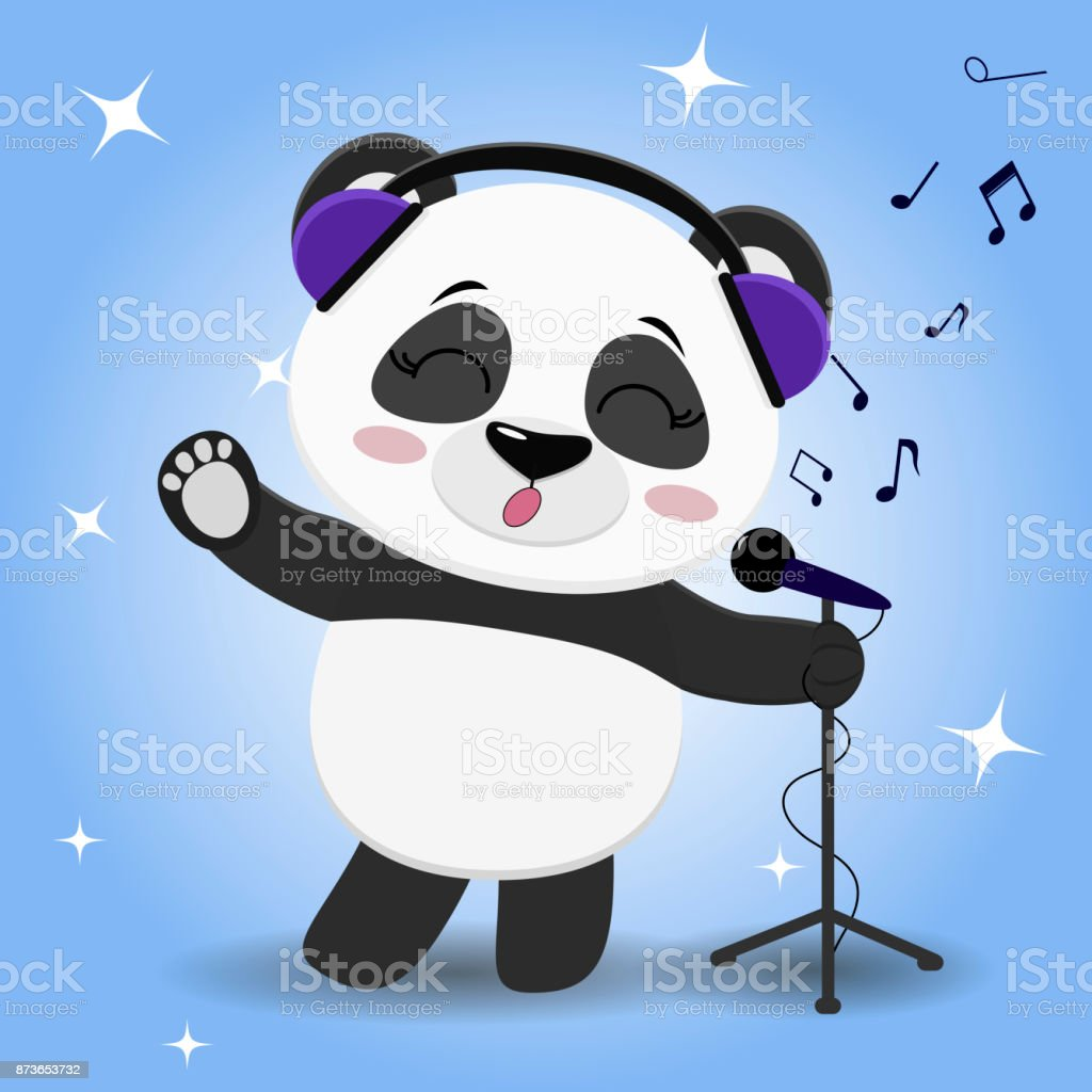 0feff442ce2236 Asia, China - East Asia, Russia, Abstract, Animal. Panda singer in blue  headphones ...