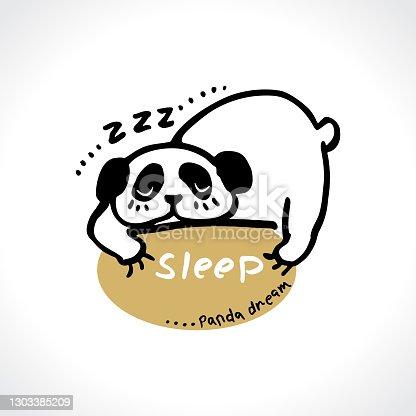 Panda sleep. Funny positive vector illustration panda dream. Sleep smile. Vector template for postcards, t-shirt print, etc. Cute card