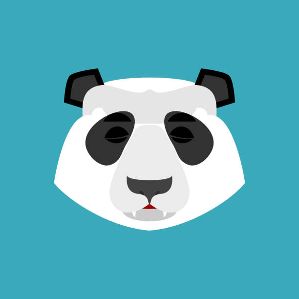Panda sleeping Emoji. Chinese bear asleep emotion isolated vector art illustration