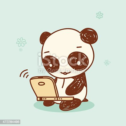 A cute panda using a laptop computer in scribbles style. Related illustrations: