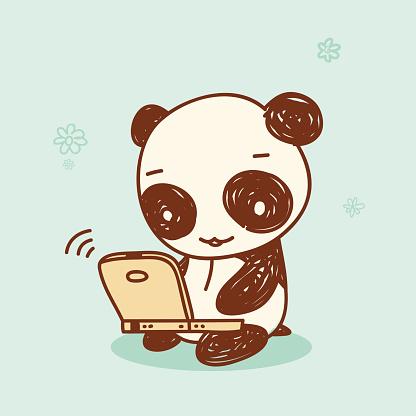 Panda Using a Laptop Computer