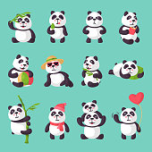 Panda vector bearcat or chinese bear with bamboo in love playing or sleeping illustration set of giant panda reading book or eating icecream isolated on background.