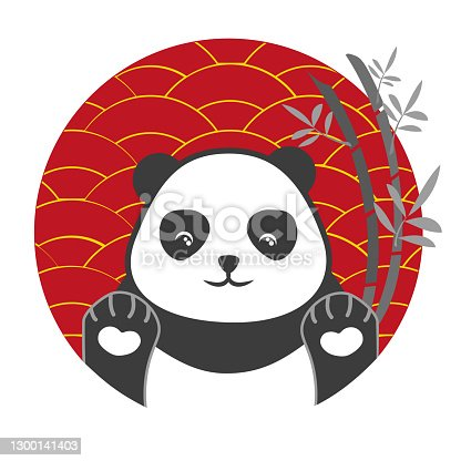Panda vector. Cute happy panda face illustration. Red and gold Chinese style background.