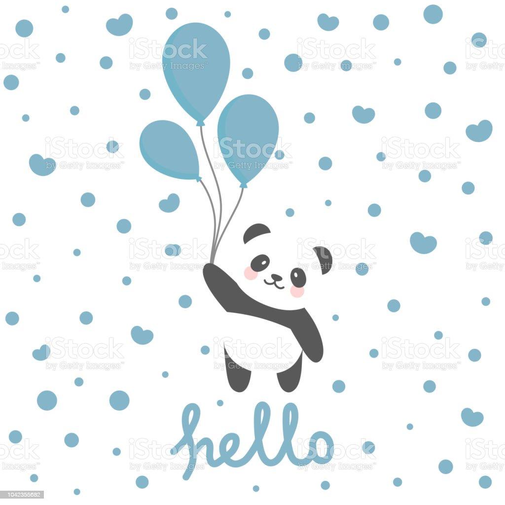 Panda Vector Print Baby Shower Card Stock Vector Art More Images