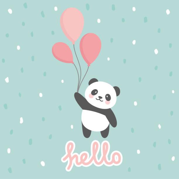 stockillustraties, clipart, cartoons en iconen met panda vector afdrukken, baby douche kaart - baby toy