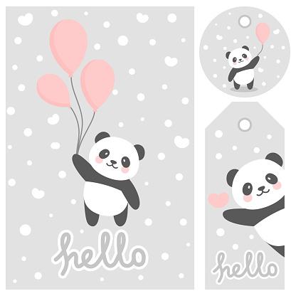 Panda vector print, baby shower card
