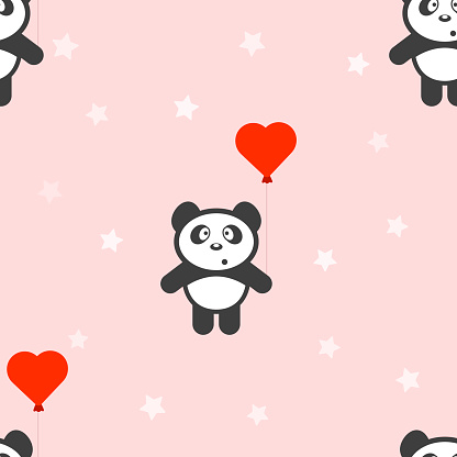Panda with a balloon. Seamless pattern. Vector on a pink background with stars.