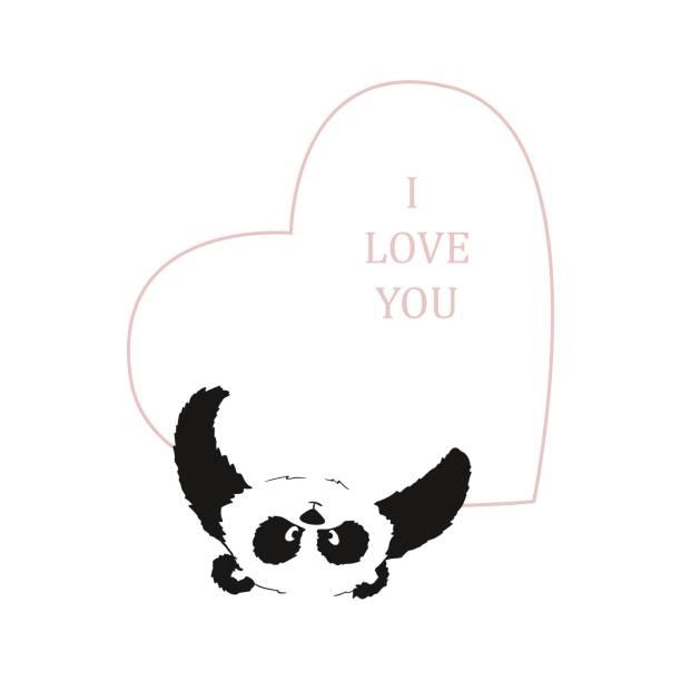 panda mit einem herz in seine pfoten auf einem transparenten hintergrund. postkarte an den tag des heiligen valentin - herzkissen stock-grafiken, -clipart, -cartoons und -symbole