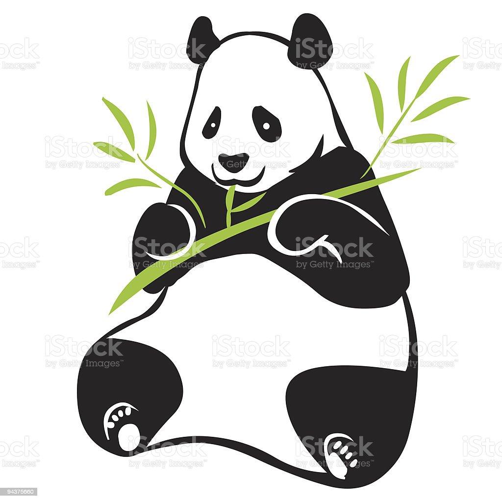 Panda with bamboo branch vector art illustration