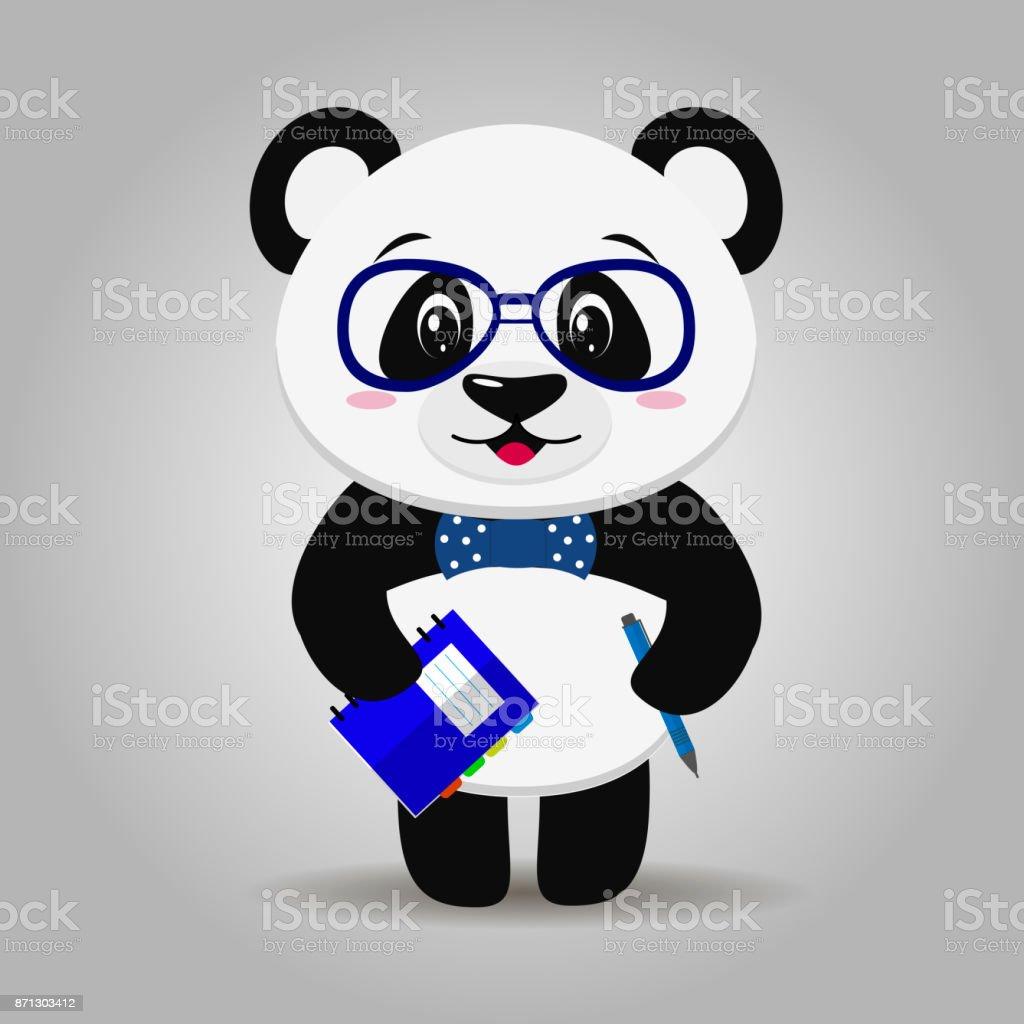Ilustración De Panda Con Gafas Con Un Bloc De Notas Y Lápiz En El
