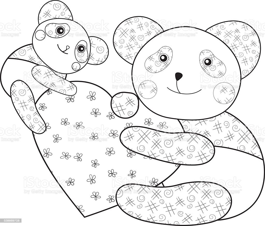 Panda With Heart Kid Coloring Book Page Stock Vector Art & More ...