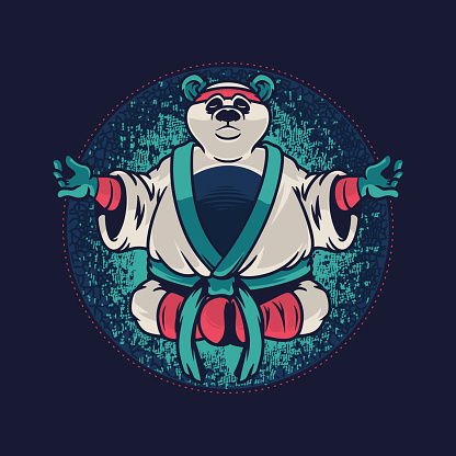 Panda with kung fu uniform. Custom apparel template with wild animal of Panda on blue background. Vector illustration design for t-shirt graphics, fashion prints and other uses
