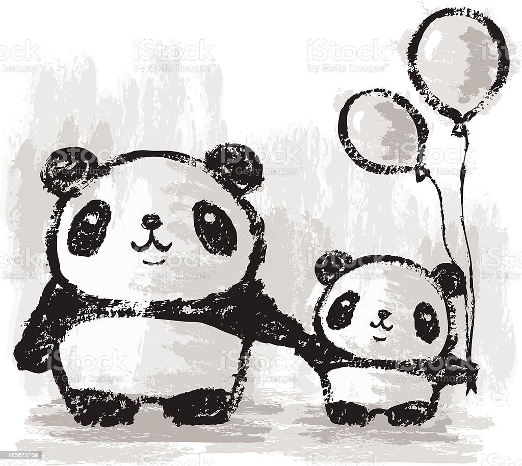 Pandas and balloons royalty-free stock vector art