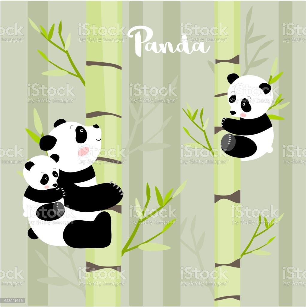 パンダは竹の木登りベクトル イラスト アイコンのベクターアート素材や