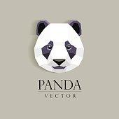 panda`s head low poly geometric polygonal flat design element