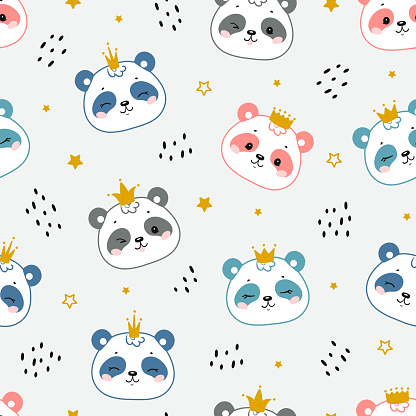Pandas Princess. Chinese or Bamboo Bear. Cute Little Baby Panda Bear Face with Crown Seamless Pattern. Kawaii Animal Heads Childish Vector Colorful Background for Kids Fashion Design