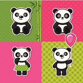 Set of pandas. Vector illustration/