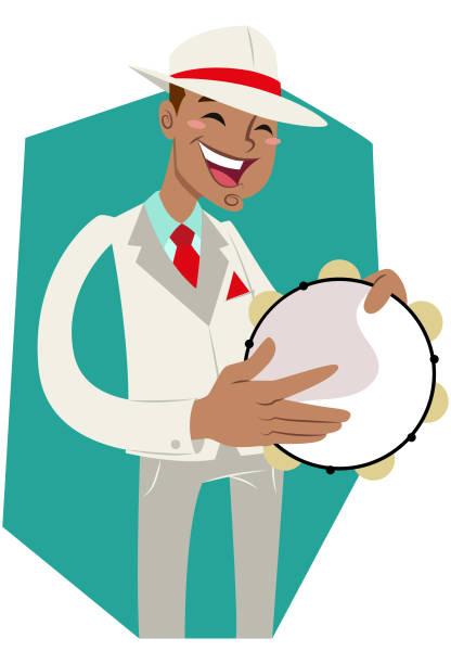 stockillustraties, clipart, cartoons en iconen met pandeiro de escola de samba - tamboerijn