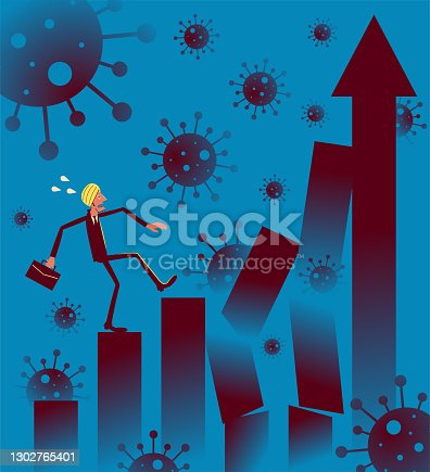 istock COVID-19 pandemic and financial crisis concept, Businessman wearing Turban is trying to climb up the broken bar chart 1302765401