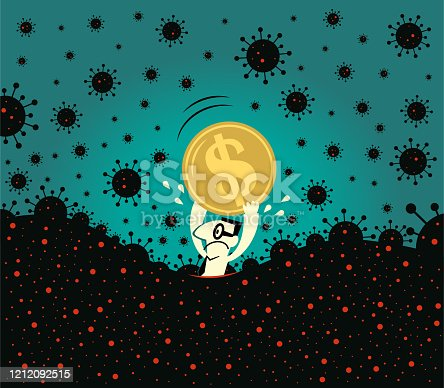 Business Characters Full Length Vector Art Illustration. Pandemic and financial crisis concpet. Scared businessman holds a dollar sign currency, fear of new coronavirus panic (covid-19, virus) is sinking in.