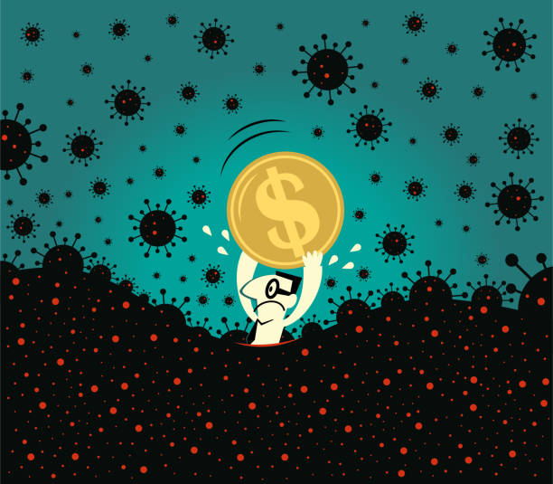 Pandemic and financial crisis concpet. Scared businessman holds a dollar sign currency, fear of new coronavirus panic (covid-19, virus) is sinking in vector art illustration