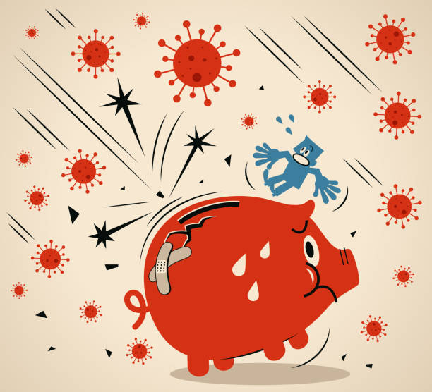 Pandemic and the global economic impact of Coronavirus COVID-19, financial crisis and economic recession concept, scared man and a big cracked piggy bank vector art illustration