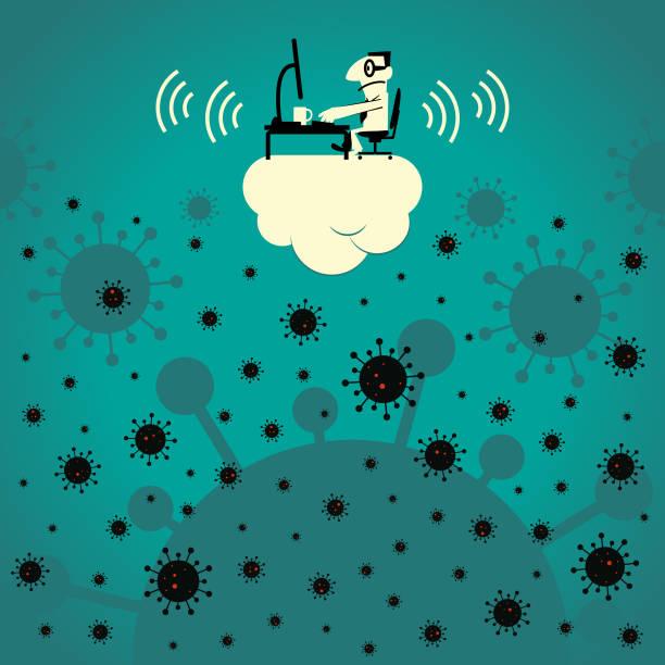ilustrações, clipart, desenhos animados e ícones de concpet pandêmico, empresário trabalha no computador em clound acima de novo coronavírus (bactéria, vírus) - e-learning not icons