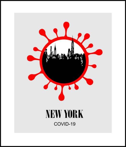 ニューヨークのパンデミックコロナウイルスcovid 19。ベクターポスター。 - corona newyork点のイラスト素材/クリップアート素材/マンガ素材/アイコン素材