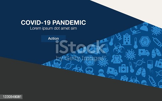 Vector of Pandemic Covid-19 Icon Set on Classic Blue palette design Background