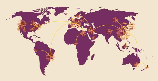 ilustraciones, imágenes clip art, dibujos animados e iconos de stock de enfermedad de la enfermedad pandémica propagación - global