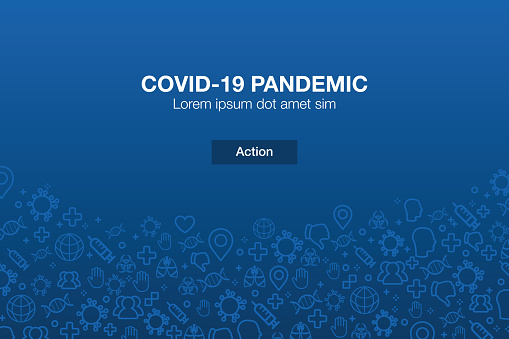 Pandemic Icons Mosaic Background with Call to Action